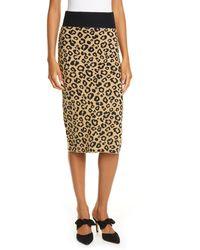 Veronica Beard Bethel Leopard Jacquard Wool Pencil Skirt - Natural