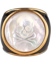Asha Mother-of-pearl Skull Ring - Metallic