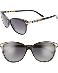 2a69b85a11 Burberry - Check 57mm Polarized Gradient Cat Eye Sunglasses - Lyst