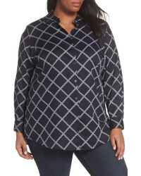 Foxcroft - Faith Jeweled Chain Pattern Cotton Blouse - Lyst