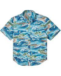 Reyn Spooner Surfin' 808 Tailored Short Sleeve Button-down Shirt - Blue