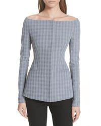 Theory - Mcclair Plaid Off The Shoulder Jacket - Lyst