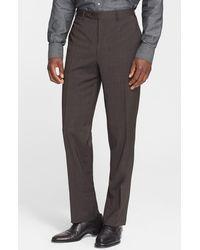 Canali - Flat Front Classic Fit Wool Dress Pants - Lyst