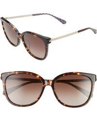 Kate Spade - Britton 55mm Cat Eye Sunglasses - Dark Havana/ Brown - Lyst