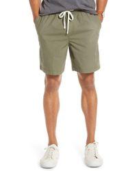 1901 Slub Elastic Waist Slim Fit Shorts - Green