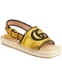 Gucci Pilar Embroidered Double G Logo Slingback Espadrille Sandal - Metallic