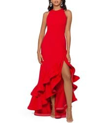 Betsy & Adam Ruffle Halter Crepe Gown - Red