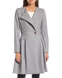 Ted Baker | Wool Blend Asymmetrical Skirted Coat | Lyst