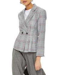 TOPSHOP - Cham Linen Checkered Jacket - Lyst