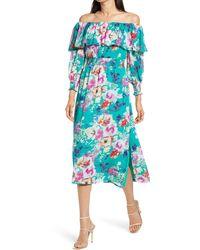 Charles Henry Floral Off The Shoulder Long Sleeve Midi Dress - Blue