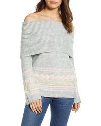 Caslon Caslon Fair Isle Convertible Cowl Neck Sweater - Gray