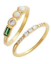 Elise M Shiny Stack Set Of 2 Emerald