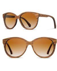 Shwood | 'madison' 54mm Polarized Round Wood Sunglasses - Walnut/ Brown Polar | Lyst