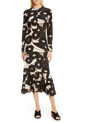 Rachel Comey Cessation Long Sleeve Silk Midi Dress - Black