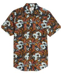 Ben Sherman - Psychedelic Floral Modern Fit Short Sleeve Sport Shirt - Lyst