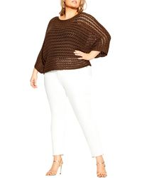 City Chic Cool Crochet Sweater - Brown
