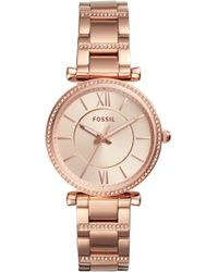 Fossil - Carlie T-bar Crystal Bracelet Watch - Lyst