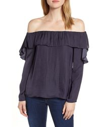 1.STATE - Hammered Satin Off The Shoulder Ruffle Blouse - Lyst