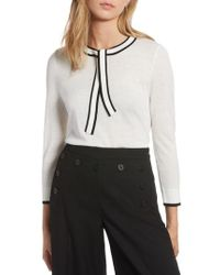 Nordstrom - 1901 Tipped Tie Neck Wool Blend Sweater - Lyst
