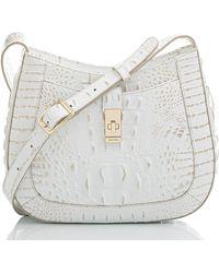 Brahmin Small Johanna Croc Embossed Leather Shoulder Bag - White