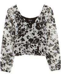 4si3nna Floral Print Crop Peplum Top - Black