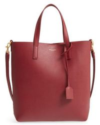 Saint Laurent - Toy Shopping Leather Tote - Burgundy - Lyst