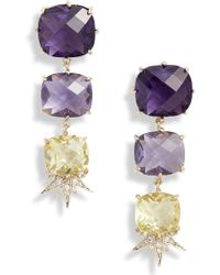 Jenny Packham - Linear Stone Drop Earrings - Lyst