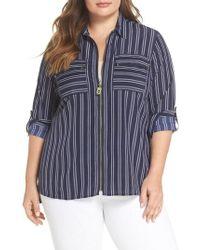 Kors by Michael Kors | Bengal Stripe Zip Shirt Jacket | Lyst