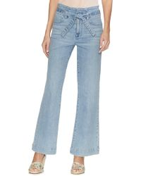 Vince Camuto Ethereal Dawn Belted Wide-leg Jeans - Blue