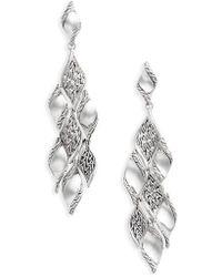 John Hardy - Classic Wave Silver Drop Earrings - Lyst