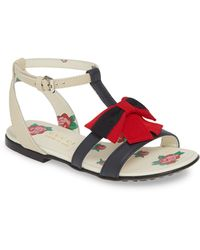 d7a60ef45f21 Lyst - Gucci Slide Bow 25mm Sandals in Red