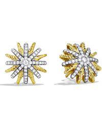 David Yurman - Diamond 18k Gold Starburst Earrings - Lyst