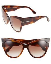 Tom Ford - Anoushka 57mm Gradient Cat Eye Sunglasses - Shiny Havana/ Gradient Brown - Lyst