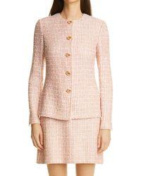 St. John Metallic Tweed Jacket - Pink
