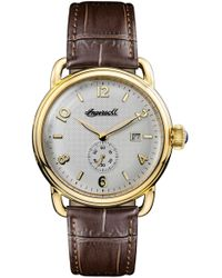 INGERSOLL WATCHES Ingersoll New England Leather Strap Watch - Metallic