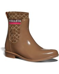 COACH Rivington Waterproof Chelsea Rain Boot - Brown