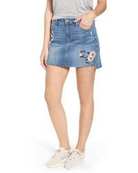Tinsel Embroidered Step Hem Denim Skirt - Blue