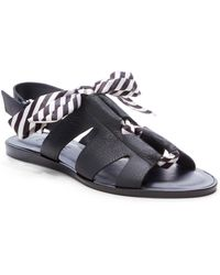 1.STATE Teena Leather Laced Flat Sandals - Black