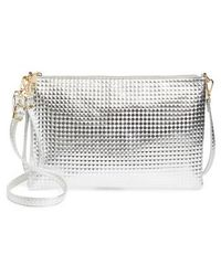 Evelyn K - Large Textured Metallic Faux Leather Pouch - Metallic - Lyst