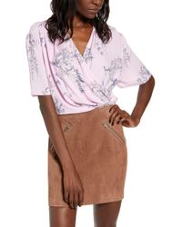 Leith Faux Wrap Top - Pink