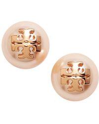 6eb72358da8 Tory Burch - Swarovski Crystal Pearl Logo Stud Earrings - Lyst