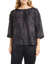 Eileen Fisher Boxy Silk Top - Gray