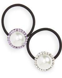 Cara - Set Of 2 Imitation Pearl & Crystal Ponytail Holders - Lyst