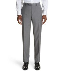 Canali - Micro Dot Regular Fit Flat Front Wool Trousers - Lyst