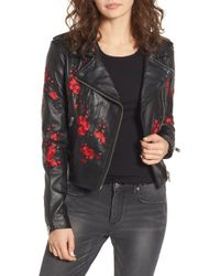 Lamarque - Embroidered Leather Moto Jacket - Lyst