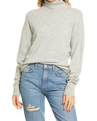 Reformation Cashmere Boyfriend Turtleneck Sweater - Gray