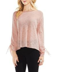 Vince Camuto - Tie Sleeve Pointelle Sweater - Lyst
