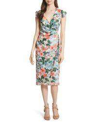 Alice + Olivia - Garnet Floral Wrap Dress - Lyst