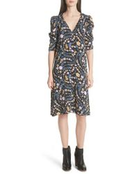 See By Chloé - Floral Print Ruched Sleeve Dress - Lyst