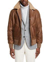 Brunello Cucinelli Genuine Shearling & Leather Aviator Jacket - Brown